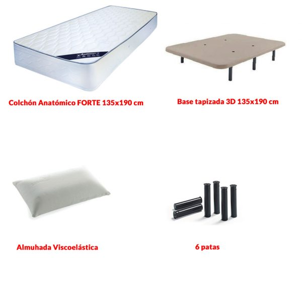 Lote de colchón y base tapizada