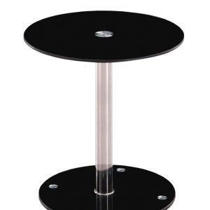 Mesa auxiliar redonda de cristal templado