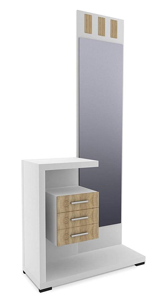 Recibidor modelo prisma con espejo y tres cajones blanco