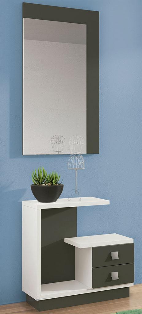 Recibidor con espejo color blanco-grafito