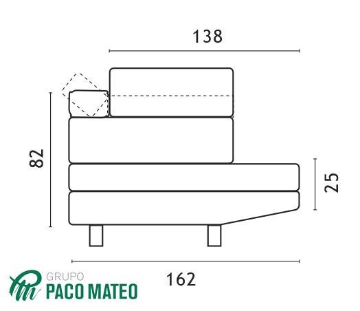 Chaiselongue modelo Miró medidas